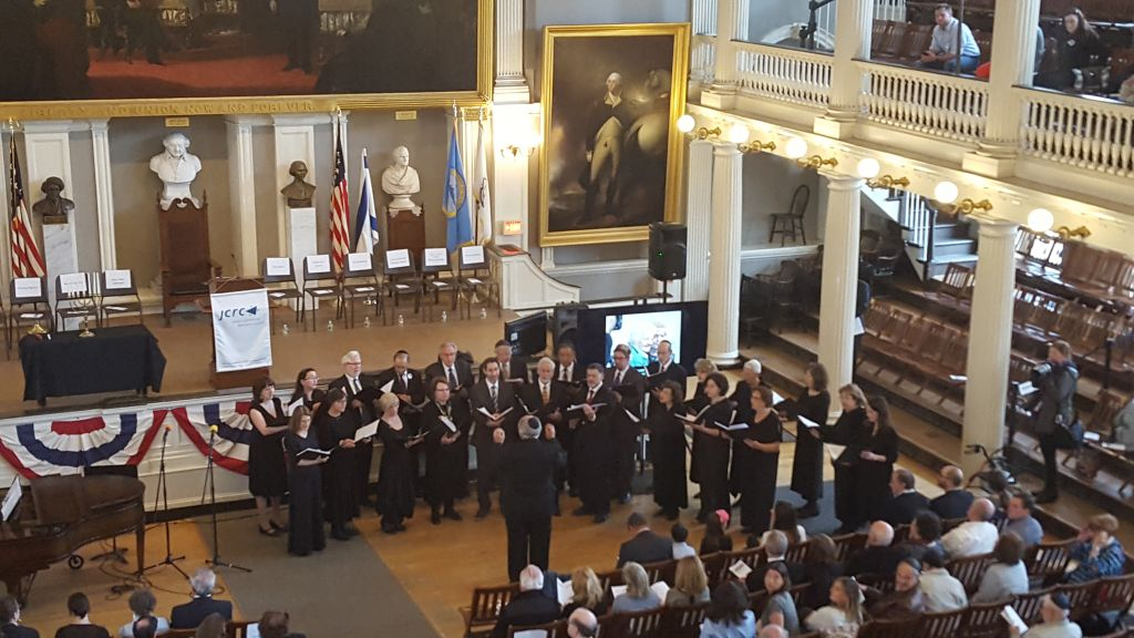Yom HaShoah Commemoration in Boston on May 1, 2016, in Faneuil Hall along the Freedom Trail (Matt Lebovic/The Times of Israel)