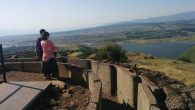 Tourists get a panoramic view of Syria from Mt. Bental in the Golan Heights. Joshua Mitnick/JW