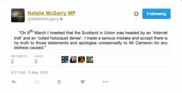 A screenshot of the tweet she sent out apologising for her comments (Source: STV News)