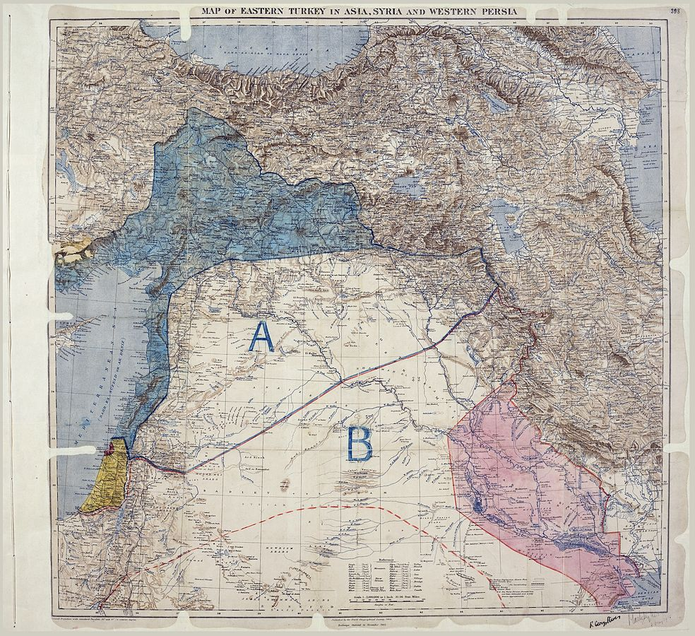 Carte des accord Sykes - Picot, signée par les deux diplomates, le 8 mai 1916. (Crédit : Royal Geographical Society, Mark Sykes et François Georges-Picot, Archives nationales du Rotaume-Uni, domaine public, via WikiCommons)