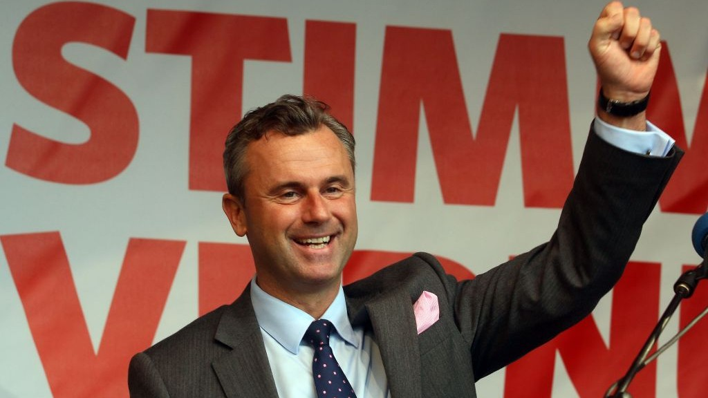 Presidential candidate Norbert Hofer of Austria's far-right Freedom Party waves to supporters during the final election campaign event in Vienna, Austria, on May 20, 2016. (AP Photo/Ronald Zak)