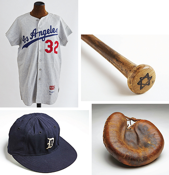 Mr. Aeder's Jewish baseball memorabilia includes Sandy Koufax's 1963 uniform, Ron Blomberg's bat, Moe Berg's catcher's mitt, and Hank Greenberg's hat.