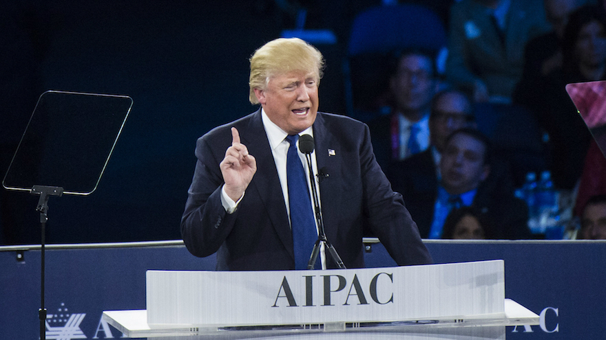 Republican presidential candidate Donald Trump speaks at the American Israel Public Affairs Committee Policy Conference in Washington, DC, March 21, 2016. (Jabin Botsford/The Washington Post via Getty Images via JTA)