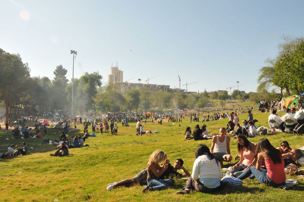 Spirals of smoke and the smell of grilled meat at Sacher Park on Israel's 63rd Independence Day in 2011 (Sophie Gordon/Flash 90)