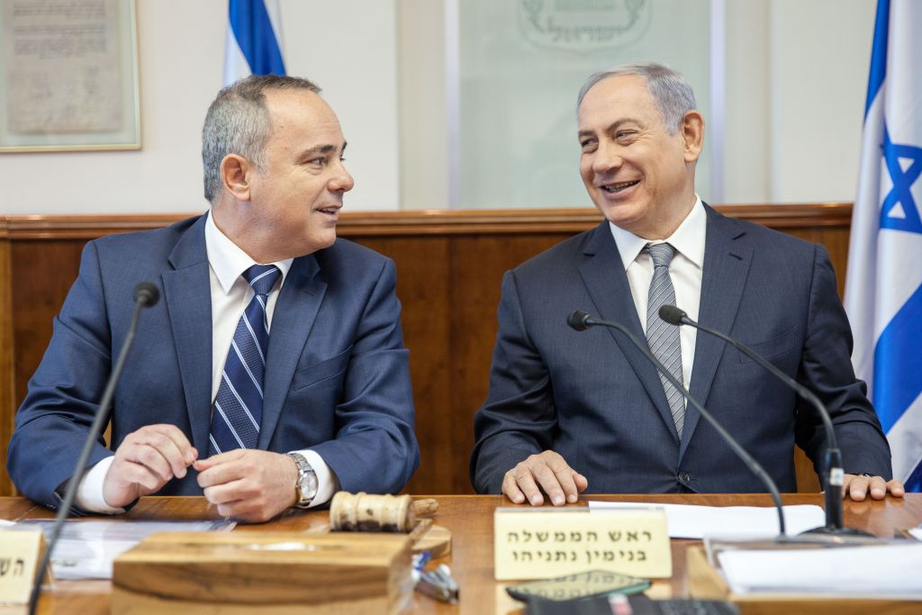 Prime Minister Benjamin Netanyahu and Energy Minister Yuval Steinitz exchange words at the weekly cabinet meeting in Jerusalem on Sunday, May 22, 2016 (Emil Salman/POOL)