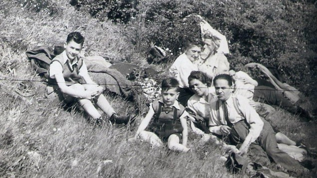 Robert Somlo's family in 1941. From left: Tamás, 11, Robert, then five, his mother Klara Breuer Somló and his father Ödön Somló. Behind are two aunts who were murdered in Auschwitz