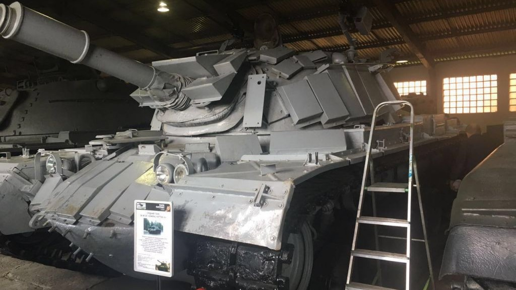 Israeli tank from the 1982 Battle of Sultan Yacoub in the First Lebanon War seen on display at a Moscow museum. (Courtesy GPO)