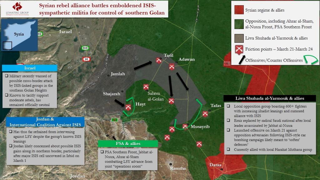 Map depicting the gains made by the Yarmouk Martyrs Brigade in a 2016 March-April offensive. (Courtesy: The Levantine Group)