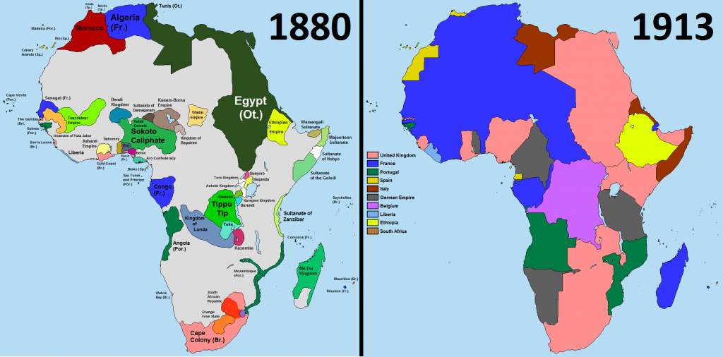 Scramble for Africa: A comparison of Africa in the years 1880 and 1913. (davidjl123 / Somebody500 / Wikipedia)