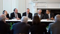 US President Barack Obama, far right, seated next to Alan Solow and leaders of the Conference of Presidents of Major American Jewish Organizations at the White House, March 1, 2011. (Pete Souza/White House)