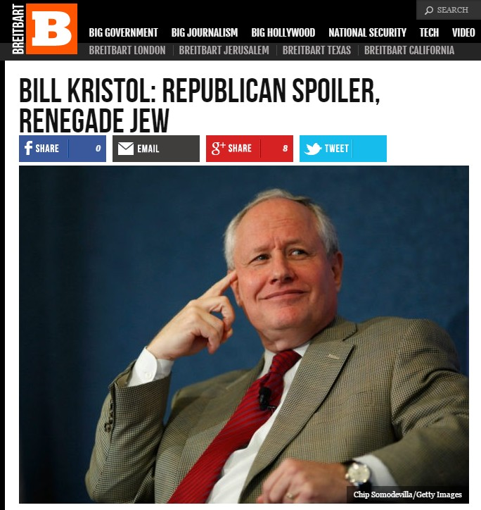 Screen capture of a Breitbart article on May 15, 2016, which brands conservative commentator and Trump critic Bill Kristol a 'renegade Jew'