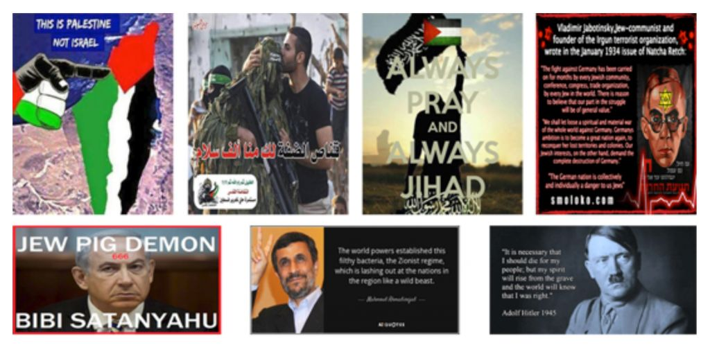 Virulent examples of the material appearing regularly on social media encouraging followers of the various groups to join the campaign against Israel