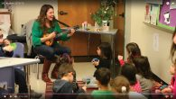 Singer-songwriter Shira Averbuch leads her charges as part of the Keshet program, which is aimed at Hebrew-speaking children.