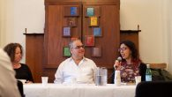 A recent panel discussion at Ansche Chesed, featured expat writers Maya Arad, left, Reuven Namdar and Ayelet Tsabari.