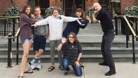 Jeff Aeder, Jennifer Levine, and their children in front of the Baseball Hall of Fame. Courtesy Jeff Aeder