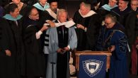 "Robert Kraft being ""hooded"" at the Yeshiva University commencement in New York City, May 26, 2016. JTA"
