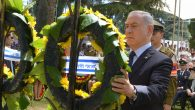 Prime Minister Benjamin Netanyahu laying a wreath during a Memorial Day ceremony at Israel's Mount Herzl military cemetery. JTA