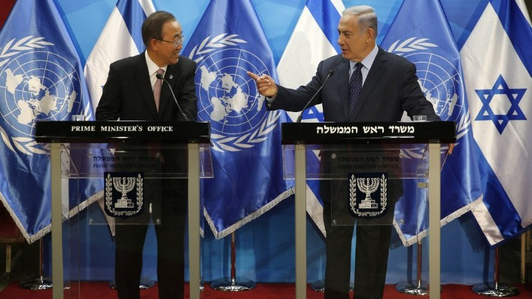 Israeli Prime Minister Benjamin Netanyahu right stands next to UN Secretary General Ban Ki-moon as they deliver statements in Jerusalem