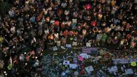 A vigil at an Orlando, Fla., park the day after a shooting rampage at a gay nightclub there left 49 people dead. Getty Images
