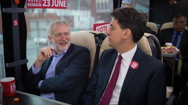 Jeremy Corbyn and Ed MIliband on the Vote Remain battle bus together