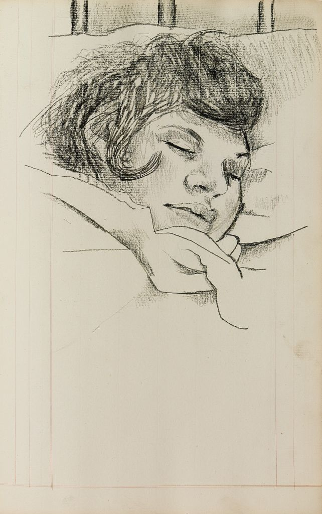 Undated handout photo issued by the National Portrait Gallery of a drawing by Lucian Freud titled Sleeping Girl, which is to go on display at the gallery as one of a selection of drawings from Freud's unseen sketchbooks. (Photo credit: NPG/PA Wire)