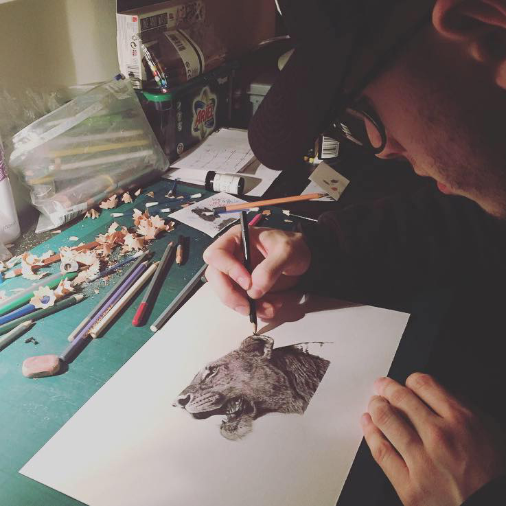 Borehamwood-based Jordan Dawson hard at work in his studio at home