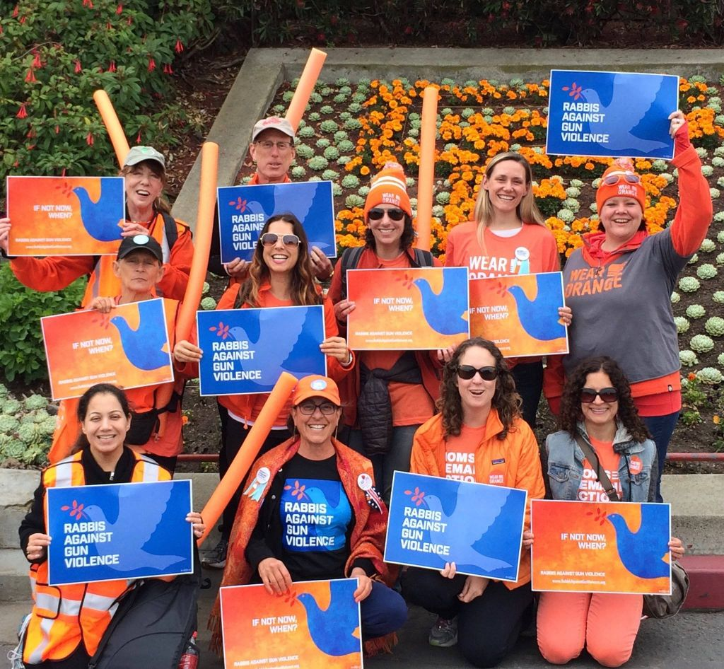 A group of supporters/members of Rabbis Against Gun Violence at the June 3, 2016 #WearOrange SF Golden Gate Bridge March. (courtesy Rabbis Against Gun Violence)