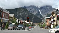 The main drag in Banff, framed by Alberta's snow-capped Rockies.  Wikimedia Commons