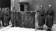 German soldiers of the Hermann Göring Division posing in front of Palazzo Venezia in Rome in 1944 , with looted art