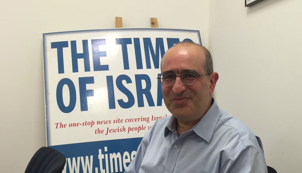 Gideon Taylor, the chair of operations for The World Jewish Restitution Organization (WJRO), at The Times of Israel's Jerusalem office on June 7, 2016. (Amanda Borschel-Dan/Times of Israel)