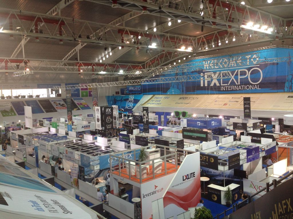 The conference floor at the IFX Expo Cyprus conference, May 2016 (Hunter Stuart)