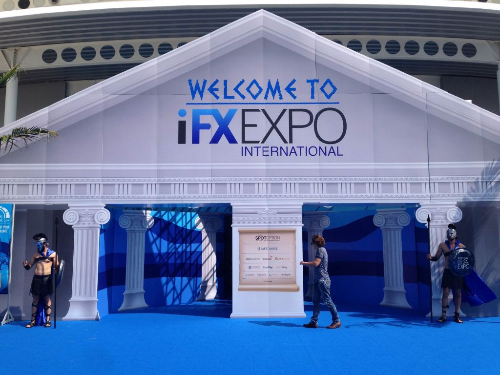 The entrance to the IFX Expo conference at the Palais des Sports in Limassol, Cpyrus, May 2016 (Hunter Stuart)