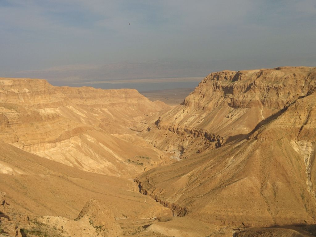 Nahal Tzeelim, overlooking the Dead Sea, in the Judean Desert. (Ilan Ben Zion/Times of Israel staff)
