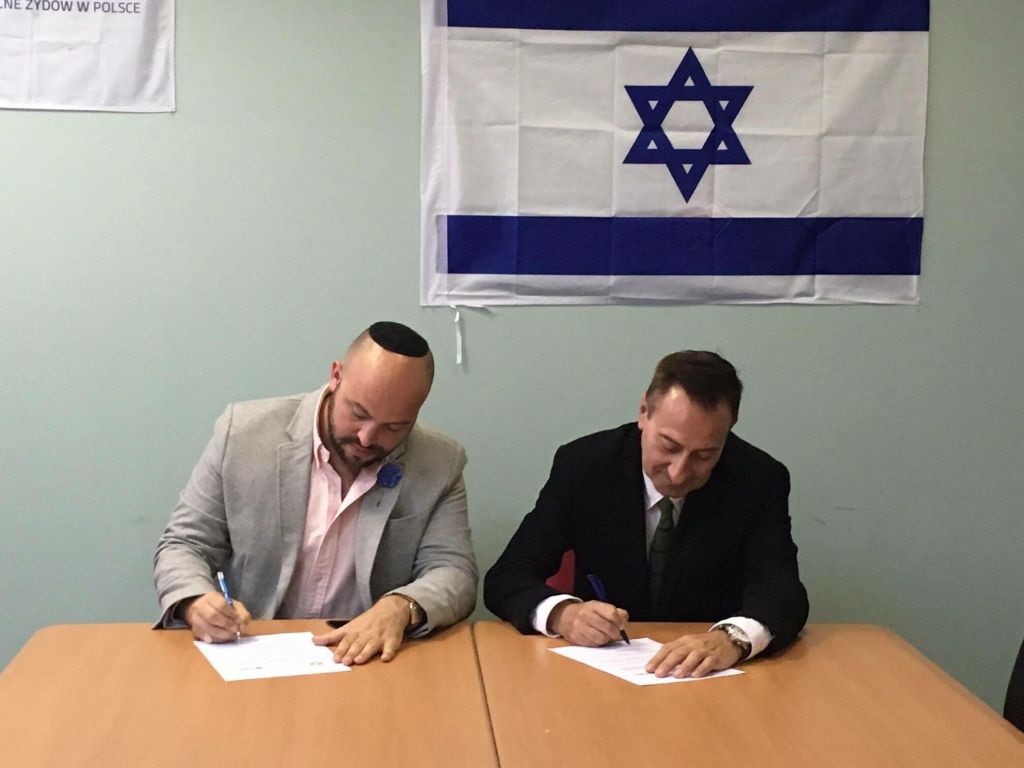 Jonny Daniels, Founder & Executive Director of From The Depths (left) with Arthur Hoffman, Chairman of Socio - Cultural Association of Jews in Poland (TSKZ)