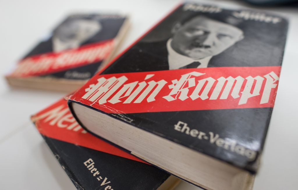 A German edition of Adolf Hitler's 'Mein Kampf' ('My Struggle') on display at the Institute for Contemporary History in Munich, December 11, 2015. (Matthias Balk/dpa via AP, File)