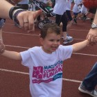 Mum Nicki Cohen with Rafi Cohen age 3 doing 1.5km