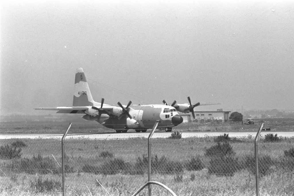 One of the Lockheed C-130 Hercules transport planes lands at Ben-Gurion Airport carrying hijacked Air France passengers rescued in the IDF Operation Entebbe.