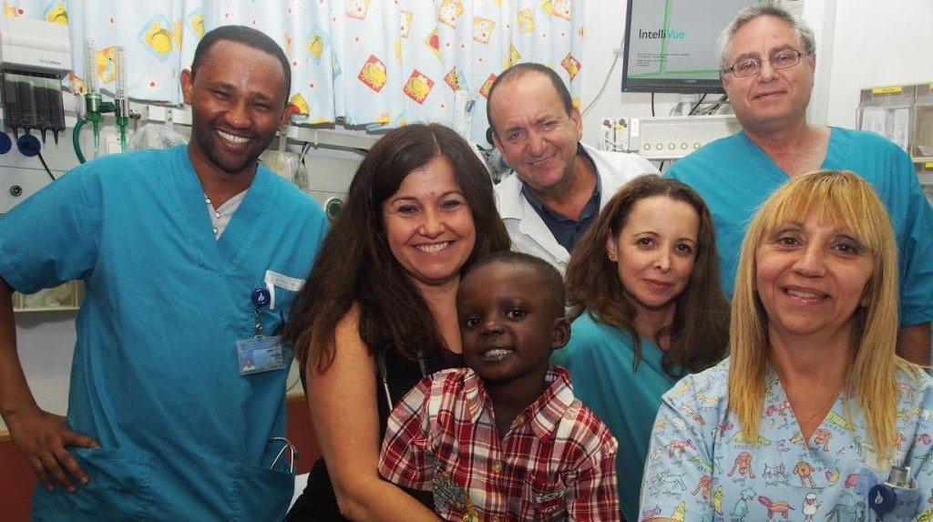 From left to right: Dr. Demeke, pediatric cardiologist from Ethiopia, Dr. Alona Raucher, Sanusey, Dr. Sion Houri, Revital Cohen, Nava Gershon. (Photo: Sheila Shalhevet, via Save A Child's Heart)