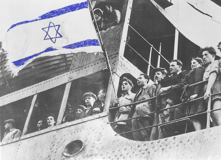 An Israeli flag mocked up onto the historic image of the Exodus - 1947