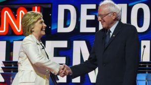Hillary Clinton and Bernie Sanders shaking hands before the CNN Democratic Presidential Debate at the Brooklyn Navy Yard. JTA