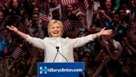 Hillary Clinton making her victory speech at the Brooklyn Navy Yard in New York City, June 7, 2016. Getty Images