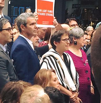 Rabbi Sharon Kleinbaum at a vigil mourning the victims of the Orlando shootings in front of the Stonewall Inn. Courtesy of CBST
