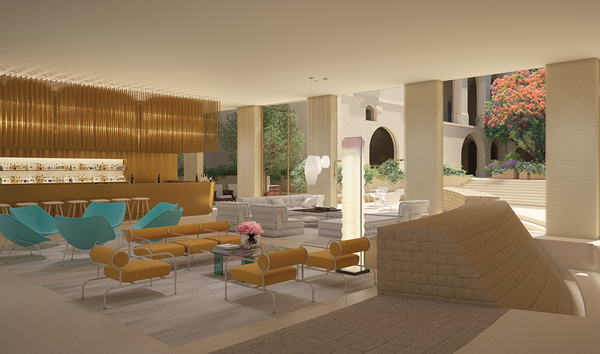 A rendering of the lobby area for The Residences at W Tel Aviv-Jaffa project. Alex Morris