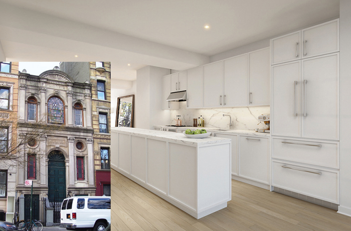 The penthouse at 415 E. Sixth St., which will sit atop the historic Anshei Meseritz synagogue, inset.