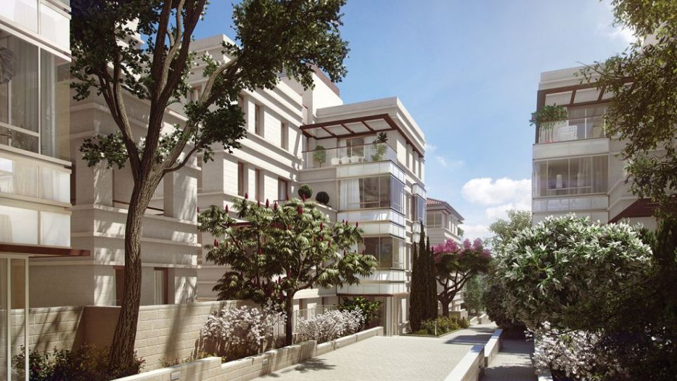 A rendering of the ParkEight condominium community in Jerusalem. Courtesy of ParkEight