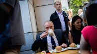 Defense Minister Avigdor Liberman drinking coffee at Sarona Market in Tel Aviv, a day after a deadly attack. JTA
