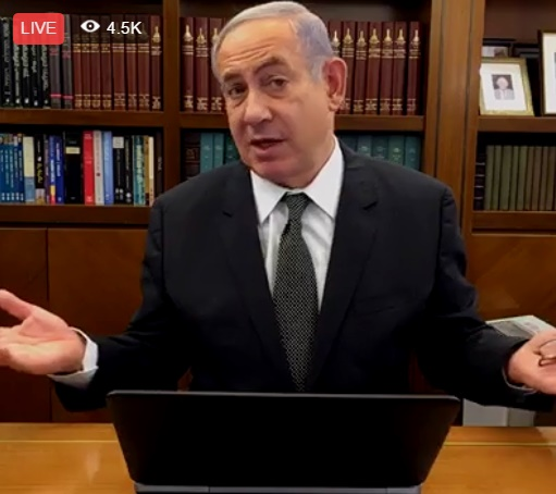 Prime Minister Benjamin Netanyahu answers questions live on his Facebook page. June 23, 2016 (screen capture: Facebook video)