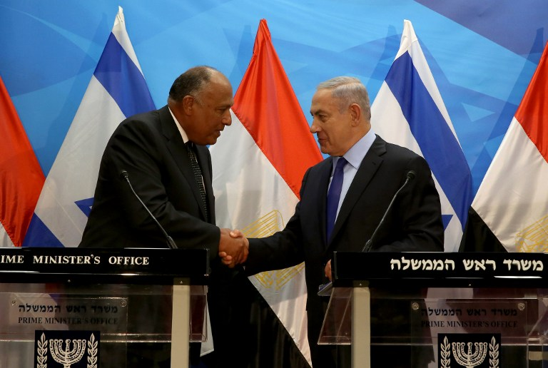 Prime Minister Benjamin Netanyahu shakes hands with Egyptian Foreign Minister Sameh Shoukry after giving a joint statement prior to their meeting at his Jerusalem office on July 10, 2016. (AFP PHOTO/GALI TIBBON)