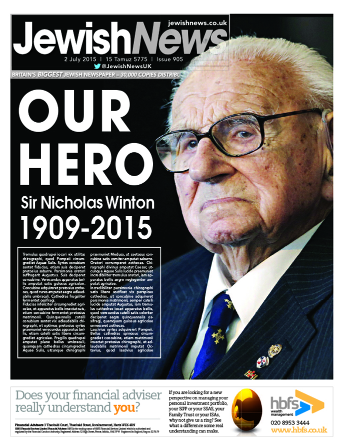 The Jewish News front page upon Sir Nicky's death