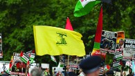 The striking Hezbollah flag during the Al-Quds rally in London (Photo credit: Steve Winston)